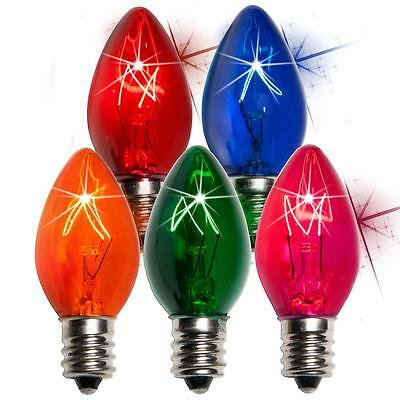 Box of 25 C7 Twinkle Multicolor Triple Dipped Transparent Christmas Bulbs 7 Watt