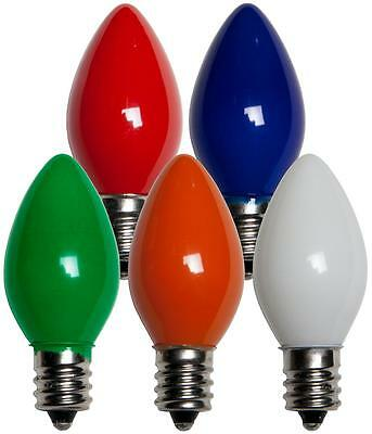 Box of 100 C7 Solid Multicolor Frosted Opaque Indoor/Outdoor Christmas Bulbs
