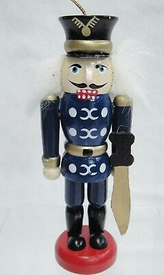 """Wooden Toy Soldier Nutcracker Christmas Ornament 4.25"""" Tall"""