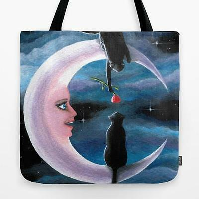 Tote Bag All over print Made in USA black Cat 581 Moon art painting by L.Dumas