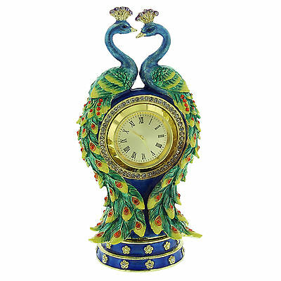 Double Peacock Bird Trinket Box with Miniature Clock  Decorative Ornament (New)