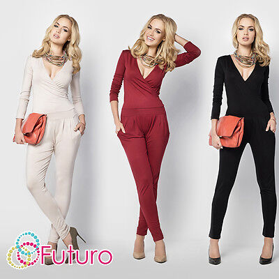 Womens Sexy Jumpsuit V Neck Wrap Playsuit Pockets Catsuit Sizes 8 - 14 FM16