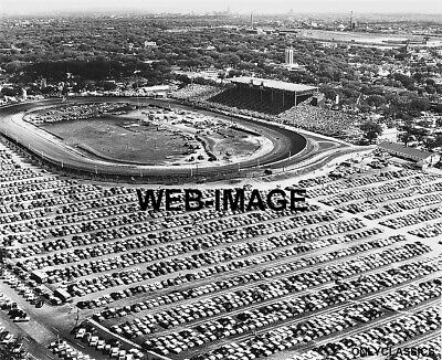 1959 MINNESOTA STATE FAIR RACE TRACK 11x14 AERIAL PHOTO PARKING LOT FULL OF CARS