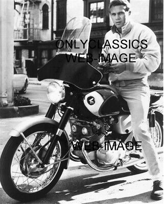 Cool Man Steve Mcqueen On His Honda Super Hawk Twin Cylinder Motorcycle Photo