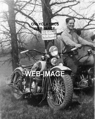 1939 Great Vintage Harley Davidson Motorcycle Photo Land Realtor Sign Americana