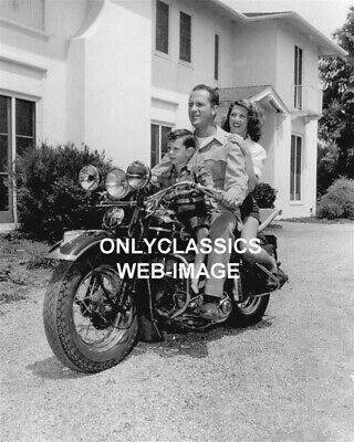 Owner Keenan Wynn & Family On Harley Davidson Motorcycle Hollywood Actor Photo