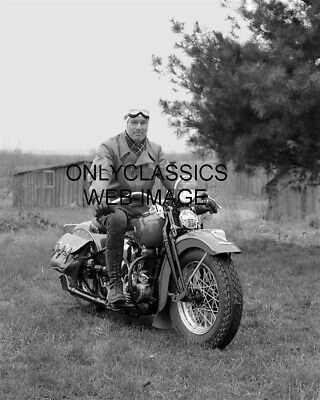 1940 Vintage Harley Davidson Motorcycle Photo Tough Guy Americana Country Field