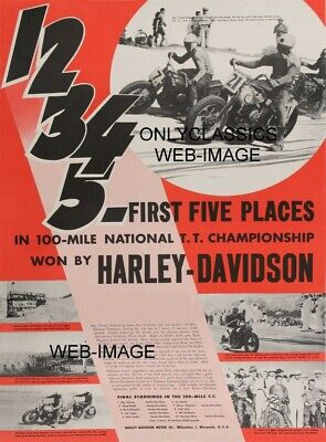 1947 Harley Davidson Motorcycle Racing Poster National T.t. Champs Tanner & Emde