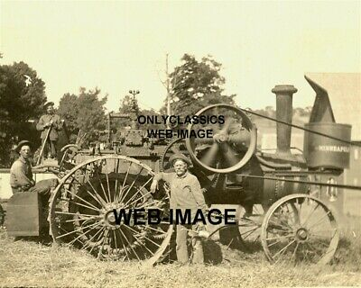 1900's MINNEAPOLIS STEAM FARM TRACTOR MN PHOTO FARMER OIL CAN MACHINERY WORKERS