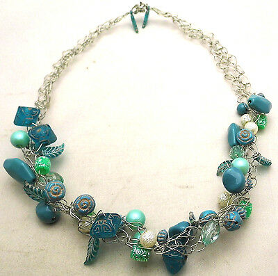 "Vintage 21"" 28mm Handmade Wire Woven Necklace w/Green & Blue Beads Silver Tone"