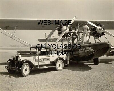 1928 Western Air Sikorsky Float Airplane Photo La-Catalina Island-Pennzoil Truck