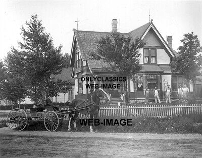 1890 Grand Victorian House Horse & Carriage Painter Sign Photo Vintage Americana