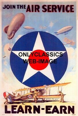 1917 Air Force Aviation Wwi War Airplane Army Flying Dirigible Aviation Poster
