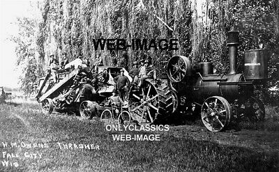 Old Minneapolis Steam Tractor H M Owens Thrasher Bicycle Photo Wi Farm Americana