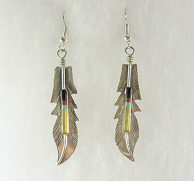Navajo Shell Coral Onyx Turquoise Feather Dangle Earrings .925 Sterling Silver