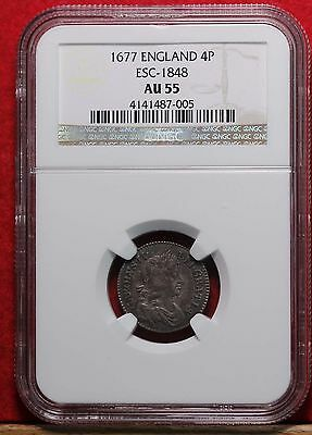 1677 England 4 Pence Silver ESC-1848 Graded AU55 by NGC Free S/H