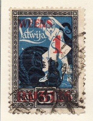 Latvia 1921 Early Issue Fine Used 1R. Surcharged 013036