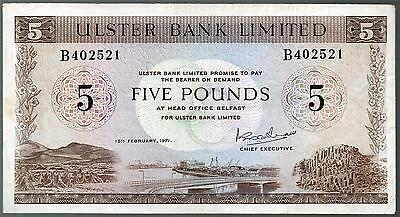 SCARCE ULSTER bank LTD Belfast £5 five pound banknotes 1966 1971 real currency