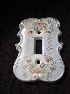 "Vintage Porcelain Switch Light Blue  Plate Floral Design 5"" X 4.25"""