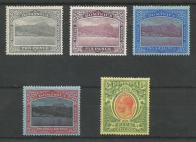 Dominica  1908-20 Mint Selection Including The 3 Top Values Cat £130+
