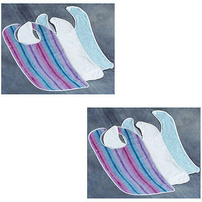 NEW (Set of 6) Adult Sized Washable Bibs - Extra Large Clothing Spill Protectors