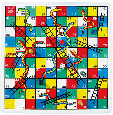 *NEW* PinToy Classic Wooden Snakes & Ladders Game - Great Family Game - 6 Years+