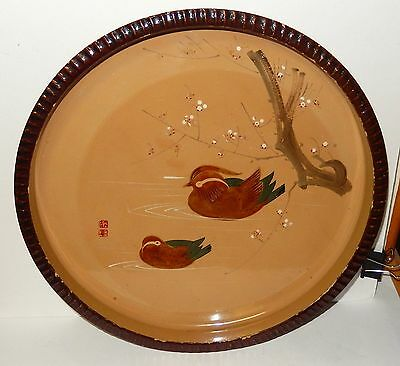 Old Japanese Hand Painting Birds And Blossoms Round Lacquer Tray Signed