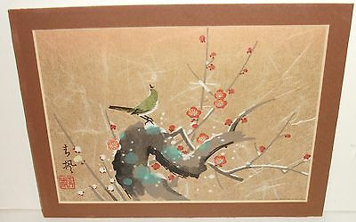 Kyoto Green Bird On A Cherry Blossom Tree Original Watercolor Painting