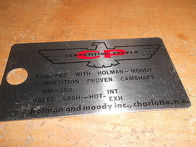 1960's HOLMAN MOODY CAMSHAFT SPECS ENGINE COMPARTMENT METAL TAG MUSTANG TORINO