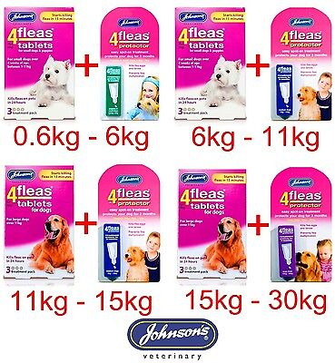 Johnsons 4fleas SET Puppy Small Medium Large Dog Flea Tablet & Drop Spot Trendy