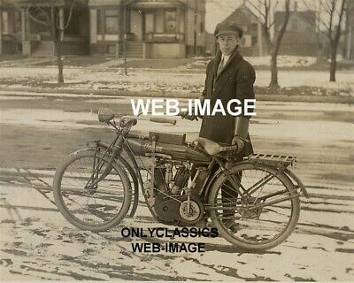 1910 Vintage Indian V-Twin Super Motorcycle Cool Man Rider 8X10 Photo Americana