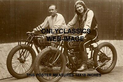 INDIAN RACER MOTORCYCLE WALL OF DEATH POSTER Daredevil Doris Gray & Barney Paige