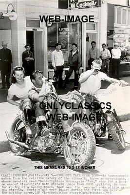 1948 Real Wild Ones Beer Drinking Mayhem Motorcycle Gang Photo Harley Davidson