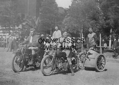 1923 Motorcycle Chariot Racing Unique Photo Daredevil Stunt Innovative Americana