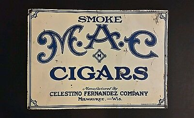 VINTAGE 1920s M.A.C. CIGAR TOBACCO ADVERTISING TIN PAINTED SIGN CROWN CORK SEAL