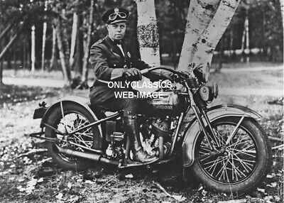 30's COOL VINTAGE HARLEY DAVIDSON MOTORCYCLE COP TOUGH LOOKING POLICE MAN PHOTO