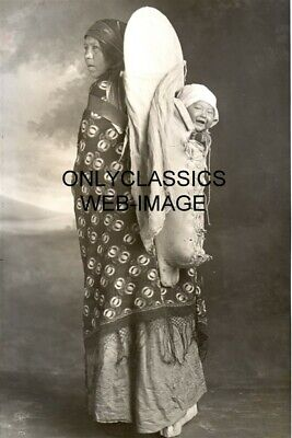 1920 Indian Mother & Cute Baby Child Smile Papoose Photo Montana Western Cowboy