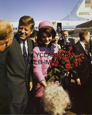 1963 John & Jacqueline Kennedy In Dallas Texas 8X10 Photo Air Force One Airplane
