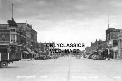 1940 Saint Peter Mn Main Street Photo Vintage Americana-Cars-Signs Storefront