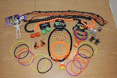Assorted Halloween Costume Jewelry- Lot Of 29 Pieces- Some New ~~