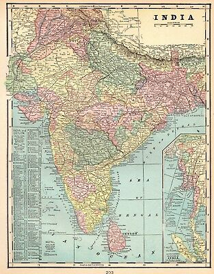 Antique INDIA Map 1901 BEAUTIFUL Vintage Map of India Gallery Wall Art 2104