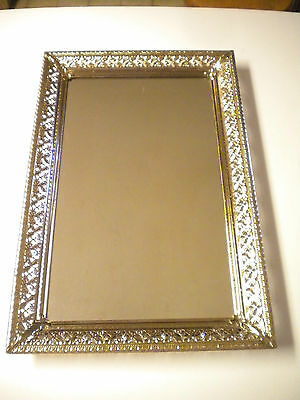 Vintage Rectangle Floral Metal Lace Wall or Pedestal Mirror / Picture Frame