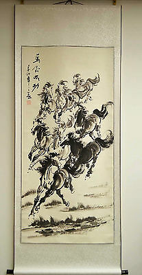 """Asian Chinese Scroll Painting Black & White Horses Wall Art Home Decor 69""""L 31""""W"""