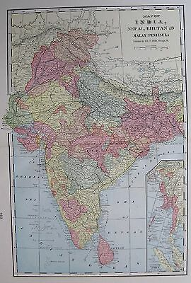 1904 Antique INDIA Map Vintage Original Map of India Gallery Wall Art 2122