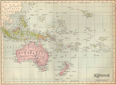 1910 Antique OCEANIA Map Philippines Map Polynesia Map Gallery Wall Art #2138