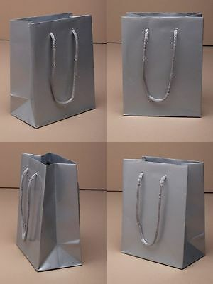 Wholesale Gift Bag with Cord Handle in Packs of 12 Shiny Silver Gift Favour Bags