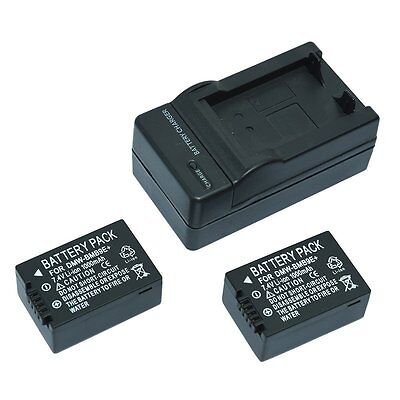 2 x Battery BMB9E DMW-BMB9E + charger for PANASONIC LUMIX DMC-Z100 FZ40 FZ45