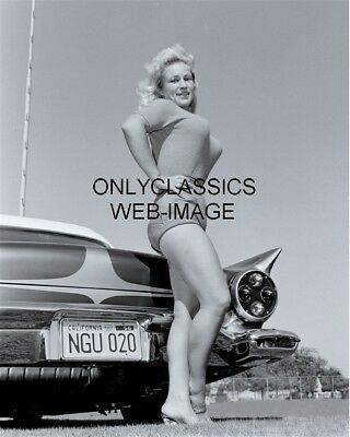 1957 Hot Rod Car Sexy Hot Pinup Cheesecake Photo Vava Voom Busty Sweater Girl