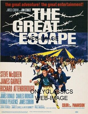 1963 The Great Escape Movie Poster Steve Mcqueen Wwii Prison World War Soldiers
