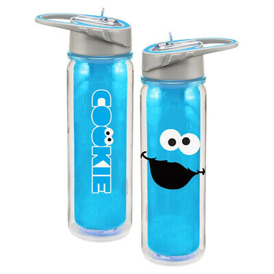 Sesame Street Cookie Monster Face Logo 18 oz Blue Tritan Plastic Water Bottle